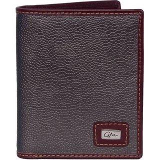 Gentleman Men Steel Grey Genuine Leather Wallet (7 Card Slots)