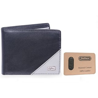 Gentleman Men Black Grey Genuine Leather Wallet (5 Card Slots)