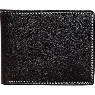 Gentleman Men Black Genuine Leather Wallet (5 Card Slots)