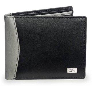 Gentleman Men Black Grey Genuine Leather Wallet (6 Card Slots)