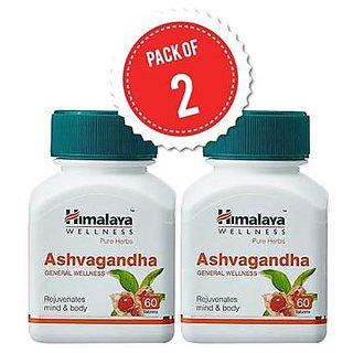 Himalaya Ashva gandha (Pack of 2) General Wellness Tablets - 60 Tablets each