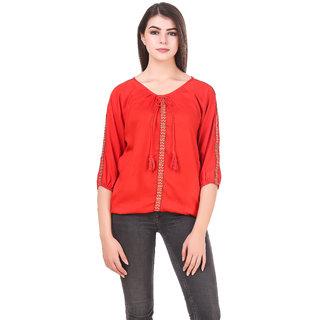 Calicovilla Women's Printed Red Crepe Top