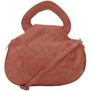 Bagizaa Salmon PU Sling Bag For Women With Zip Closure ,Adjustable Strap