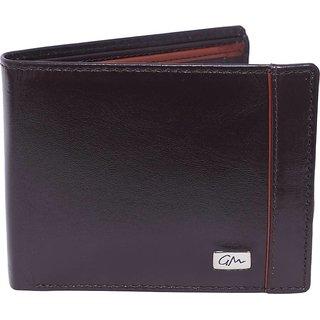 Gentleman Men Brown Genuine Leather Wallet (7 Card Slots)
