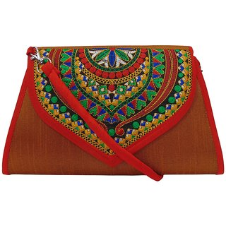 Bagizaa Khaki Cloth-Canvas Handbag For Women With Zip Closure ,Fixed Strap