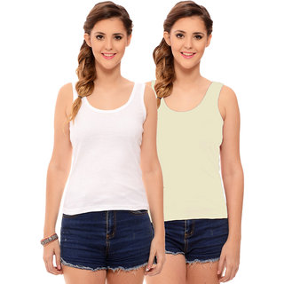 Hothy Womens's White & Cream Camisole (Pack of 2)