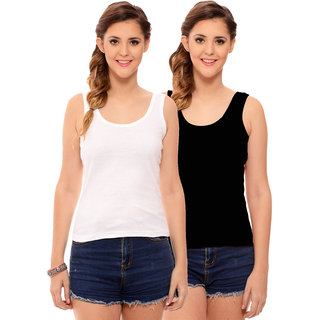 cabf9aabe1044d Buy Hothy Womens s White   Black Camisole (Pack of 2) Online - Get ...