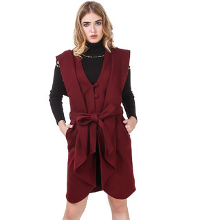 Texco maroon Open Front Waist Belted Sleeveless Longline Waterfall Coat