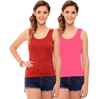 Hothy Womens's Red  Light Pink Camisole (Pack of 2)