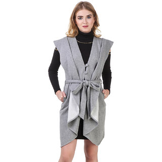 Texco Heather Grey Open Front Waist Belted Sleeveless Longline Waterfall Coat