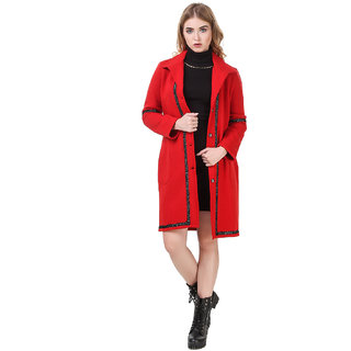 Texco Red Longline Lace Detailed Lapel Collar Party Coat