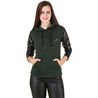 Texco Black Leather Long Sleeve Army Green Party Sweatshirt