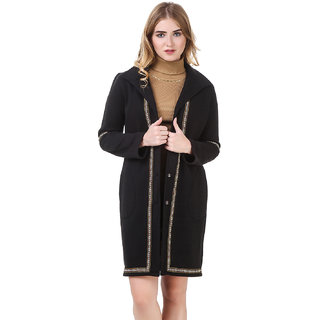 Texco Black Longline Lace Detailed Lapel Collar Party Coat