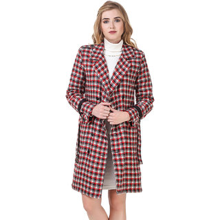 Texco Red Check Belted Detailed Double Breasted Party Coat
