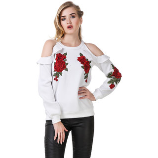 Texco White Cold Shoulder Patched Sweatshirt