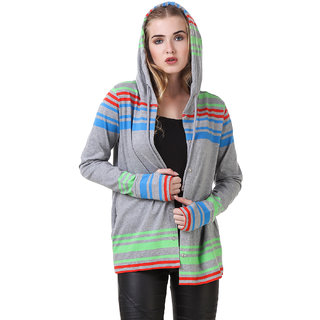 Texco Navy striped Hooded Smart Casual Cardigan