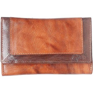 Gentleman for Men/ Woman Tan with Brown Genuine Leather Clutch (4 Money Pockets 17 Card Slots)