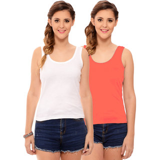 823011fbe7e52e Buy Hothy Womens s White   Orange Camisole (Pack of 2) Online - Get 60% Off