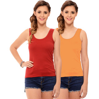 Hothy Womens's Red & Gold Camisole (Pack of 2)