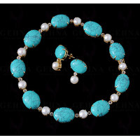 Pearl, Turquoise & Topaz Studded Necklace & Earring Set .925 Silver