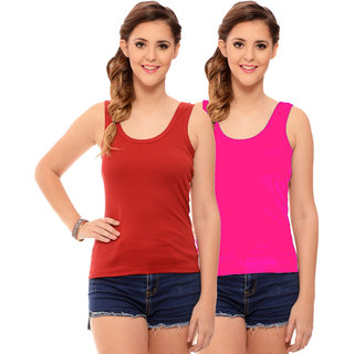 5305009fadcec6 Buy Hothy Womens s Red   Magenta Camisole (Pack of 2) Online - Get 60% Off
