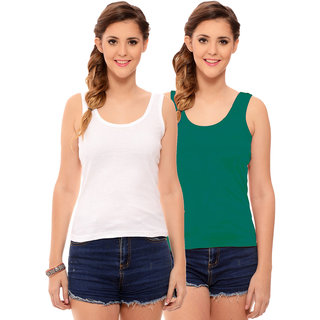 90f13d65365e3c Buy Hothy Womens s White   Dark Green Camisole (Pack of 2) Online - Get 60%  Off