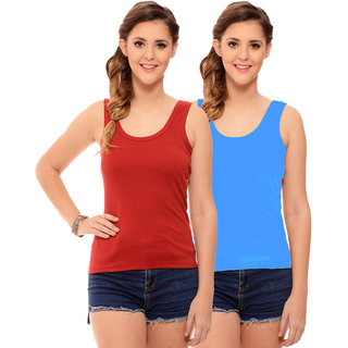 Hothy Womens's Red & Sky Blue Camisole (Pack of 2)