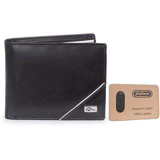 Gentleman Men Black Genuine Leather Wallet (6 Card Slots)