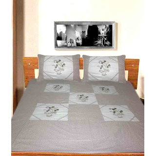 EMBROIDERED COTTON DOUBLE BEDSHEET WITH PILLOW COVERS ( MC-0142 )