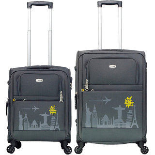 Timus Salsa 55 65 Cm Graphite 4 Wheel Trolley Suitcase For Travel Set Of 2 (Medium Check-In Luggage)