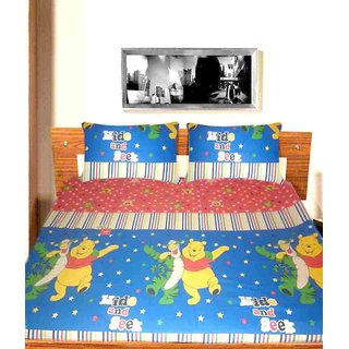 HIDE AND SEEK COTTON DOUBLE BEDSHEET WITH PILLOW COVERS ( MC-0145 )