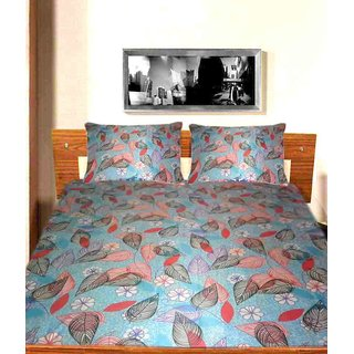 MULTICOLOR LEAF PRINT COTTON BEDSHEET WITH PILLOW COVERS ( MC0150 )