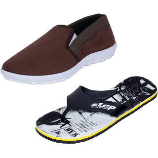Indistar Mens Multicolored Canvas Sneakers And Haiwaii House Slippers (Pack Of 2)