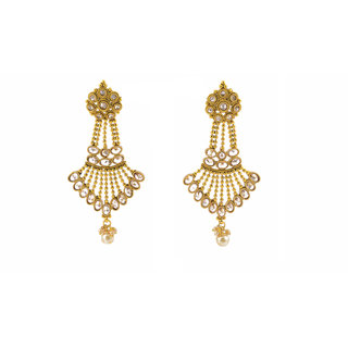 Gahane Majestically designed big pear shaped Polki set trinagular shape long earings with small immersions of pearl drop