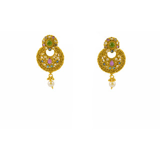 Gahane Navaratna studded Earings with south sea pearl drops.