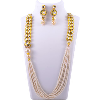 Gahane Long Pearl Strings Stitched Polki Studded Necklace Set with Earings