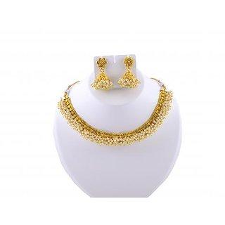 Gahane Kundan style Pearls Stitched Short Necklace Earings set