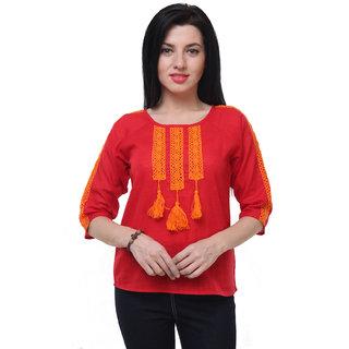 970547686e828 Buy Jollify Casual 3 4th Sleeve three tassal Women s Red Cotton Top ...