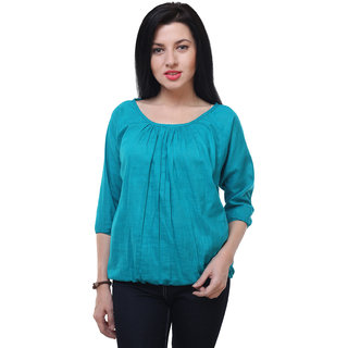 7883dc6fdfbd9 Buy Jollify Casual 3 4th Sleeve solid Women s sky blue cotton Top ...
