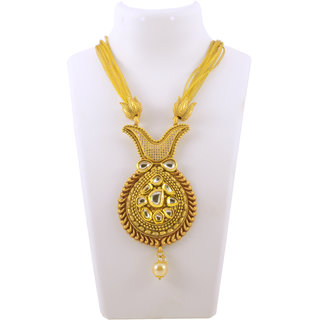 Gahane Kundan Style Gold Polished Long Necklace set With Earings