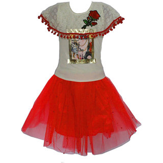 Faynci rich style with  pretty look Skirt Top for girl white and red
