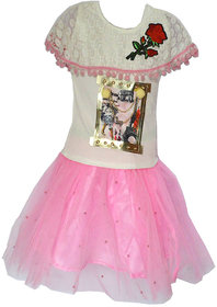 Faynci rich style with  pretty look Skirt Top for girl white and pink