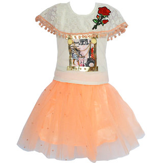 Faynci rich style with  pretty look Skirt Top for girl white and orange