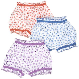 Soft  Comfortable Baby Girls' Bloomers (12-18 Months) (Pack Of 3)