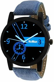 Roman Round Analog Blue Leather Mens Quartz Watch