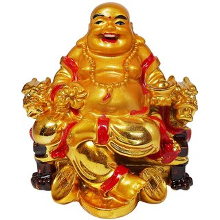 ReBuy Golden Laughing Buddha On Dragon Chair For Good Luck