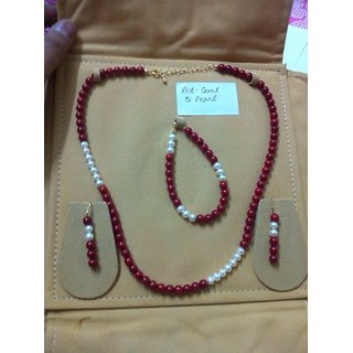 Red Coral and pearl Necklace , earring with bracelet