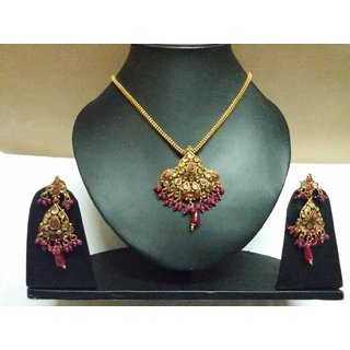 Beautiful  Jewellery Set (Necklace/ Earings) With Pink Stones & Golden Chain