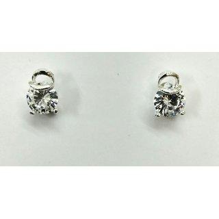 Gahane Big CZ stone studded Silver Polished Ear Stud for Women