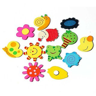 Wooden Magnetic Fun Bright Colorful Preschool Toddler Toy Color and Shapes Learning Refrigerator Magnets Fridge Stickers